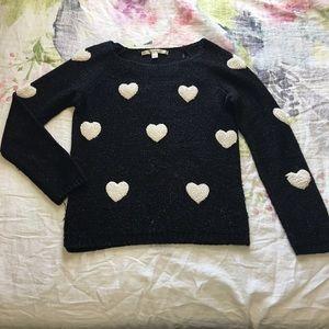LC Lauren Conrad Black Sweater w/ White Hearts